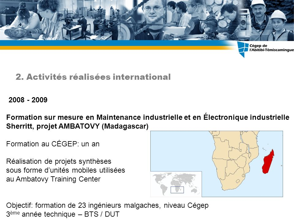 2. Activités réalisées international