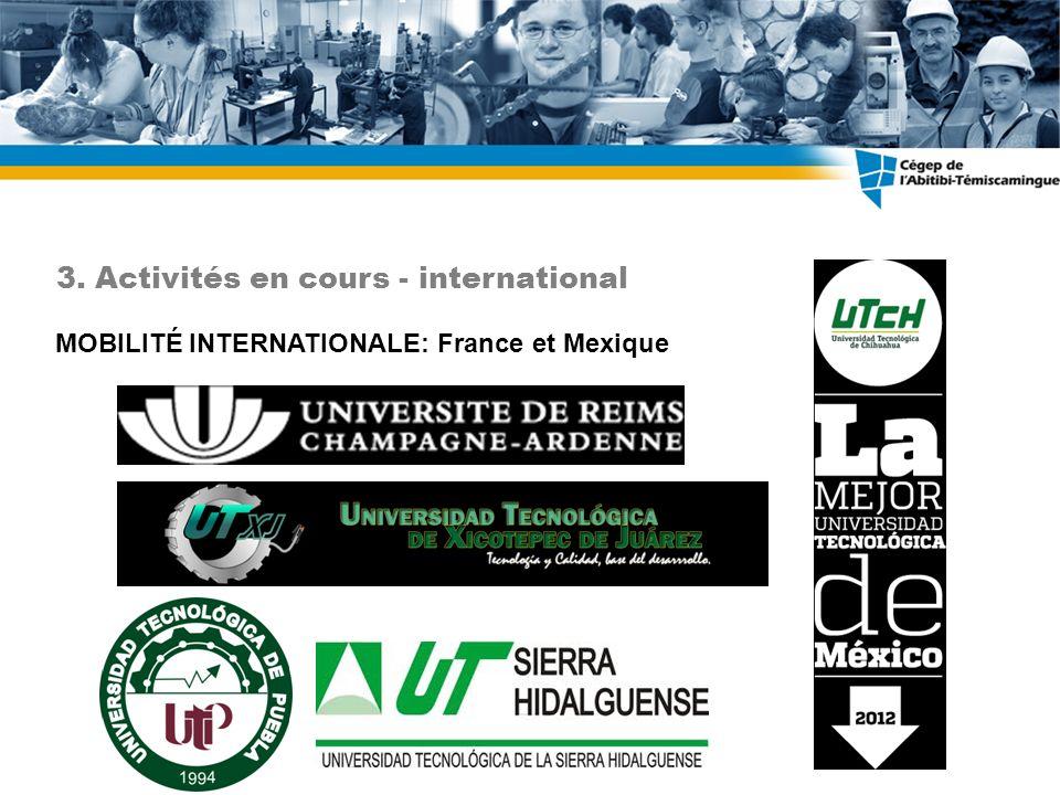 3. Activités en cours - international