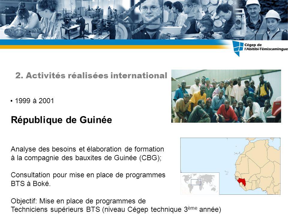 République de Guinée 2. Activités réalisées international 1999 à 2001