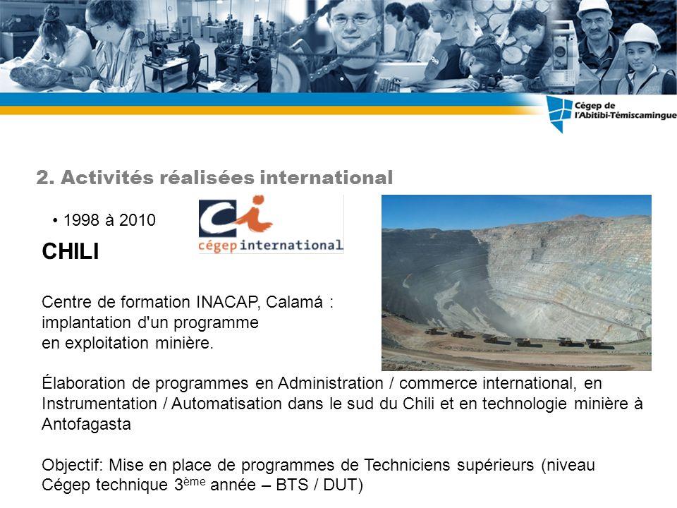 CHILI 2. Activités réalisées international 1998 à 2010