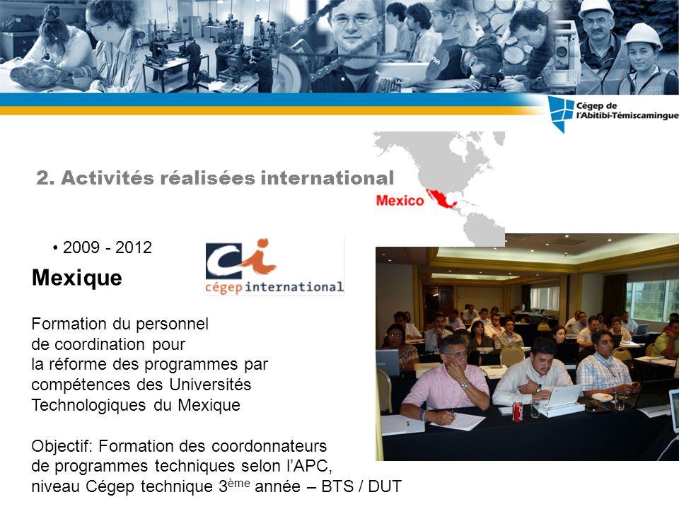 Mexique 2. Activités réalisées international 2009 - 2012