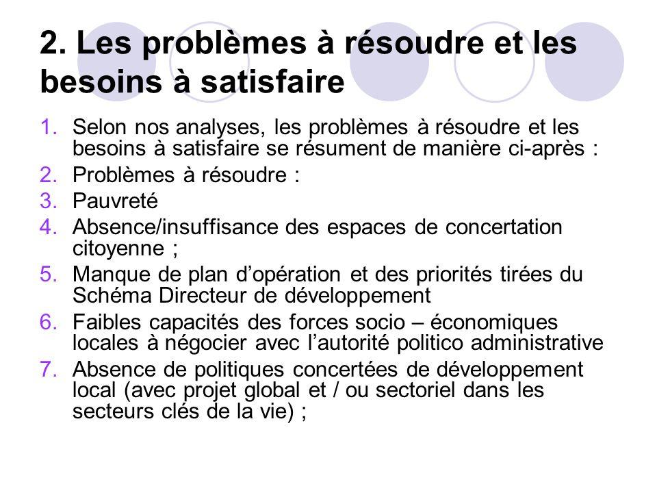 2. Les problèmes à résoudre et les besoins à satisfaire