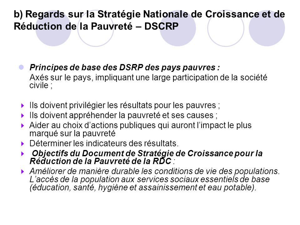 b) Regards sur la Stratégie Nationale de Croissance et de Réduction de la Pauvreté – DSCRP