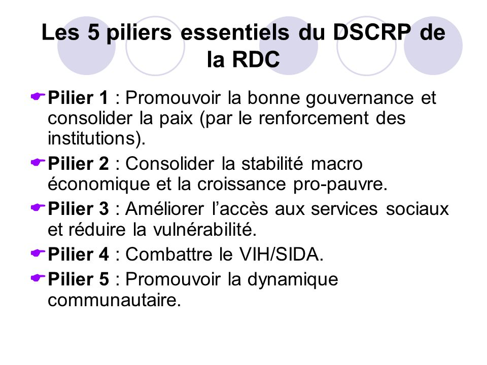 Les 5 piliers essentiels du DSCRP de la RDC