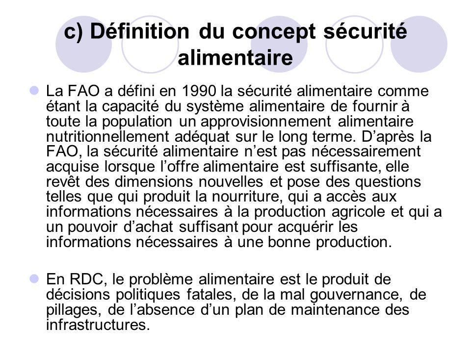 c) Définition du concept sécurité alimentaire