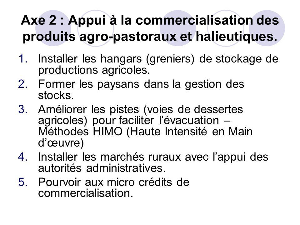 Axe 2 : Appui à la commercialisation des produits agro-pastoraux et halieutiques.