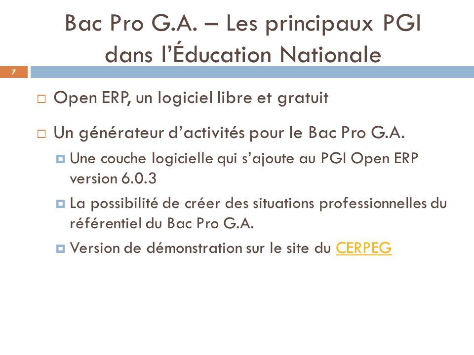 Bac Pro G.A. – Les principaux PGI dans l'Éducation Nationale