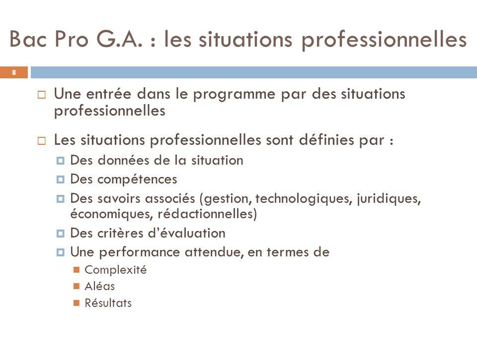 Bac Pro G.A. : les situations professionnelles