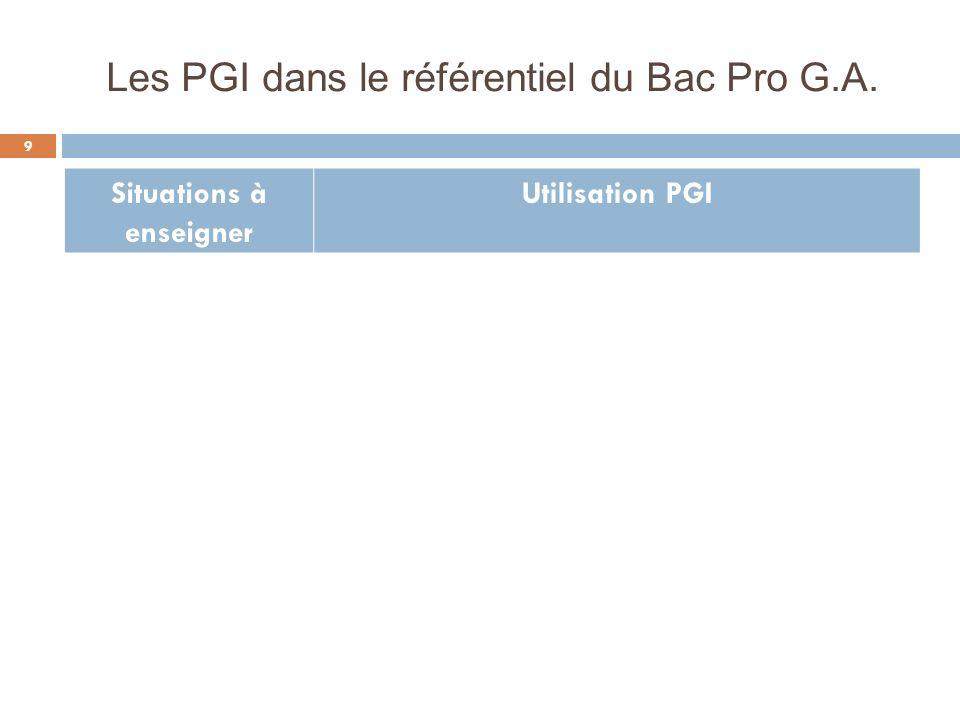 Les PGI dans le référentiel du Bac Pro G.A.