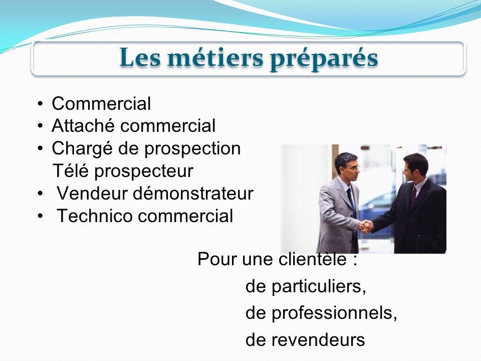 Les métiers préparés Commercial Attaché commercial
