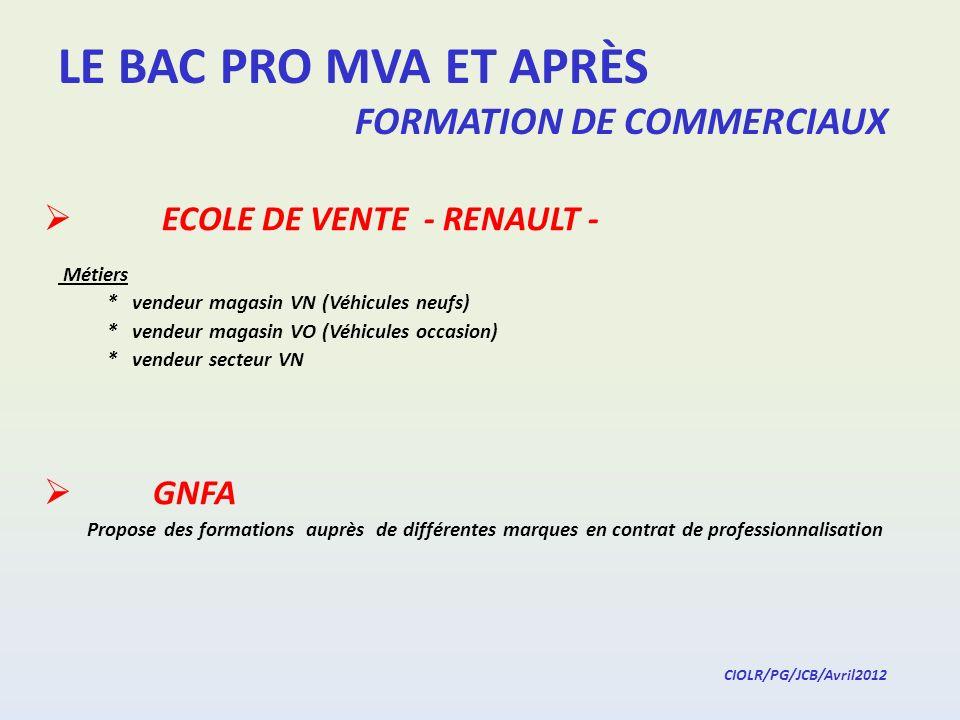LE BAC PRO MVA ET APRÈS FORMATION DE COMMERCIAUX