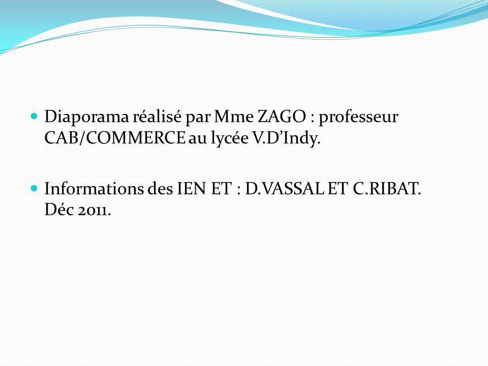 Diaporama réalisé par Mme ZAGO : professeur CAB/COMMERCE au lycée V