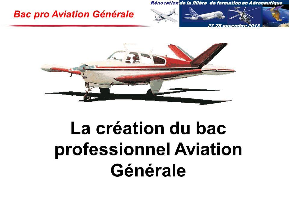 La création du bac professionnel Aviation Générale