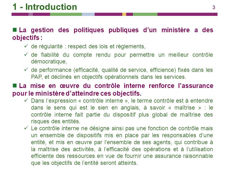 1 - Introduction La gestion des politiques publiques d'un ministère a des objectifs : de régularité : respect des lois et règlements,