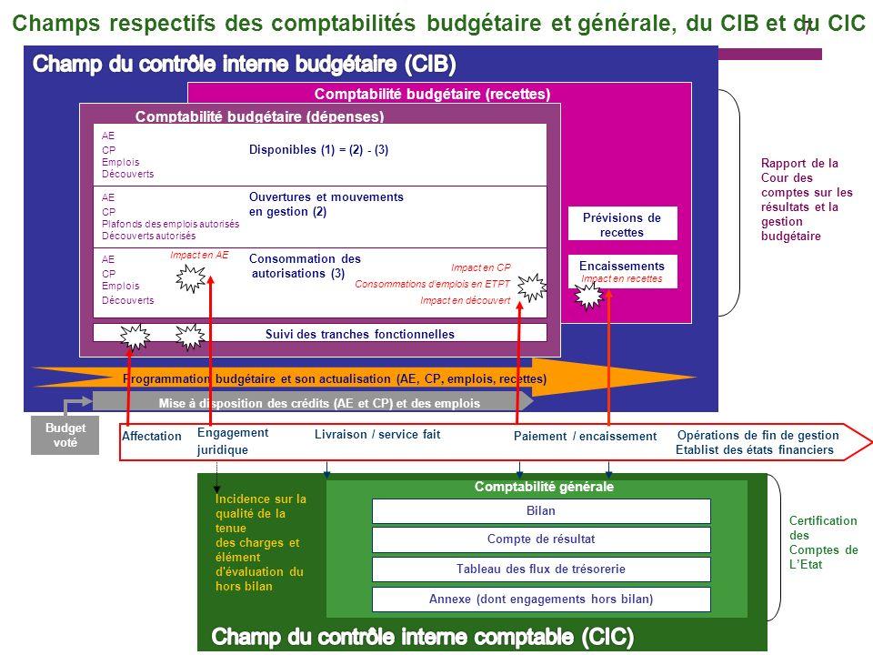 Champs respectifs des comptabilités budgétaire et générale, du CIB et du CIC