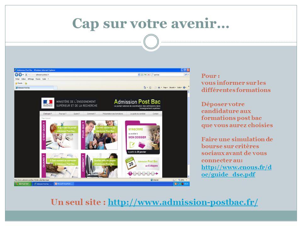 Un seul site : http://www.admission-postbac.fr/
