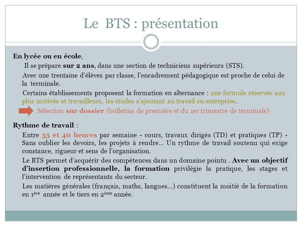 Le BTS : présentation
