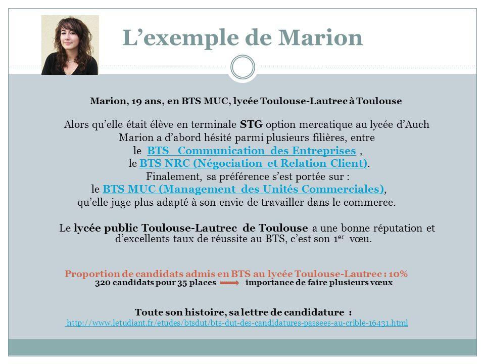 L'exemple de Marion Marion, 19 ans, en BTS MUC, lycée Toulouse-Lautrec à Toulouse.