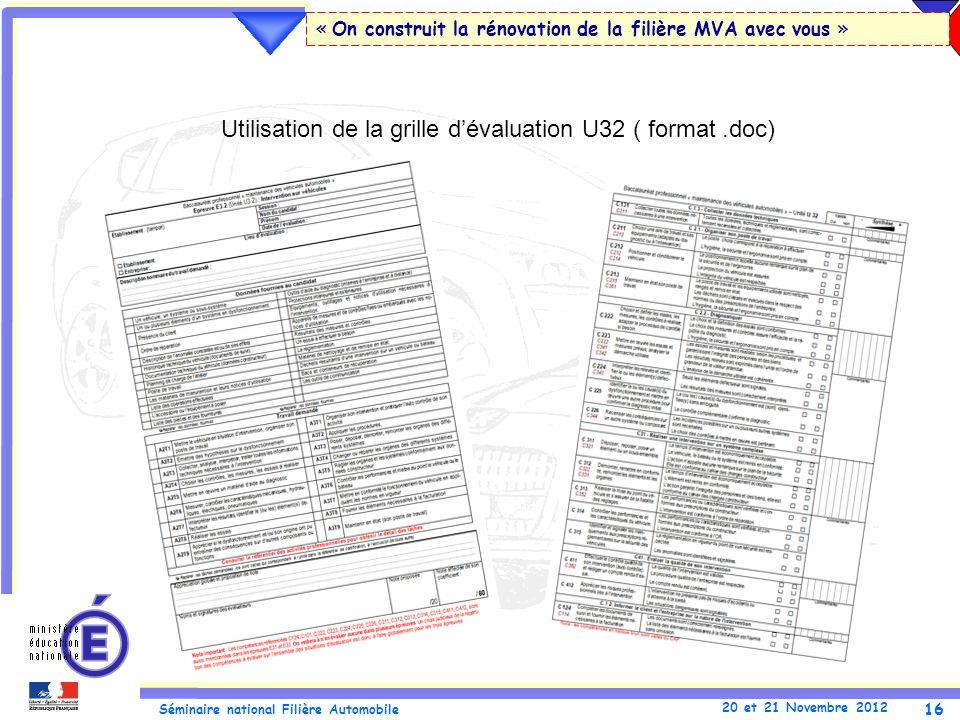 Utilisation de la grille d'évaluation U32 ( format .doc)