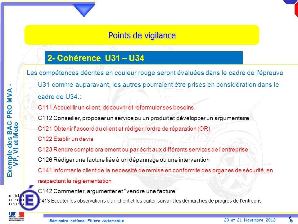 Points de vigilance 2- Cohérence U31 – U34 .