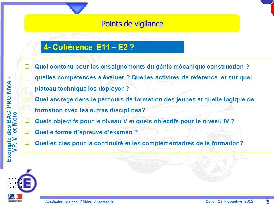 Points de vigilance 4- Cohérence E11 – E2 .