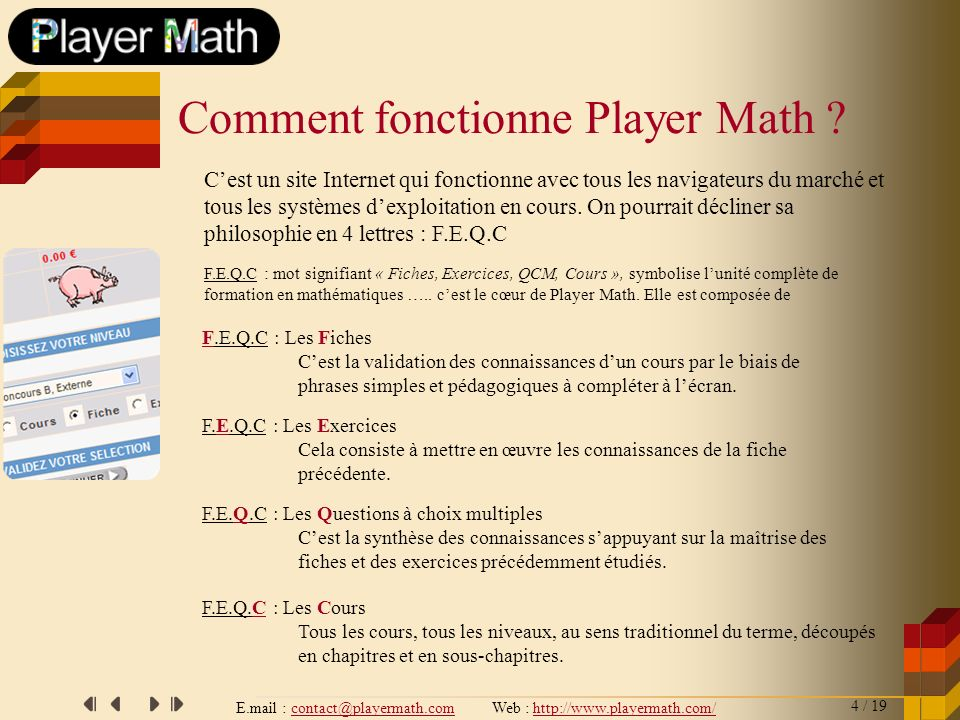 Comment fonctionne Player Math