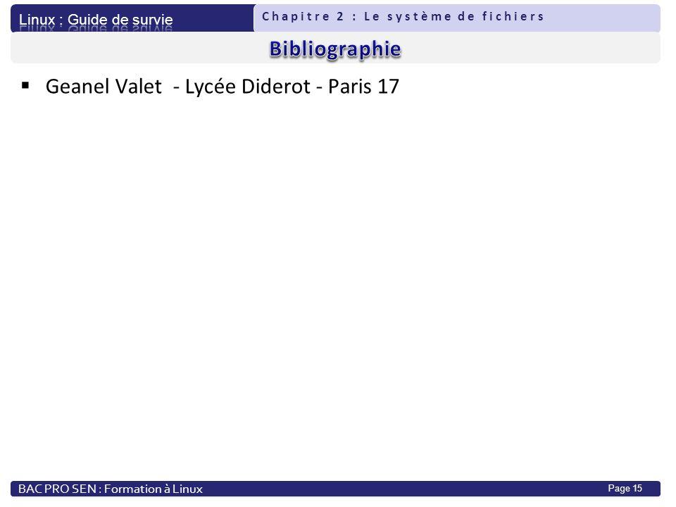 Bibliographie Geanel Valet - Lycée Diderot - Paris 17