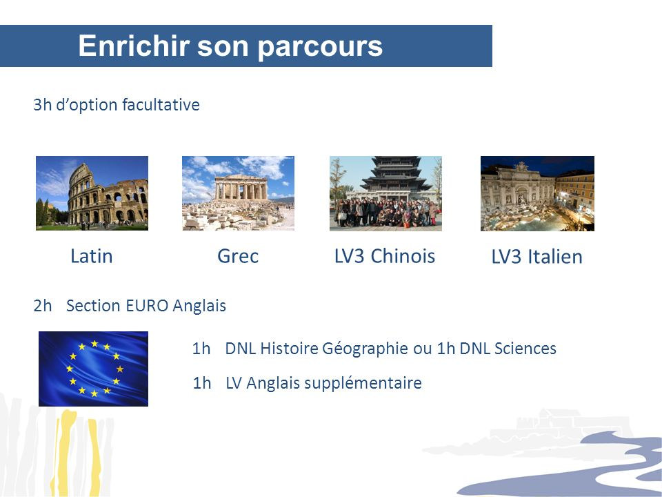 Enrichir son parcours Latin Grec LV3 Chinois LV3 Italien
