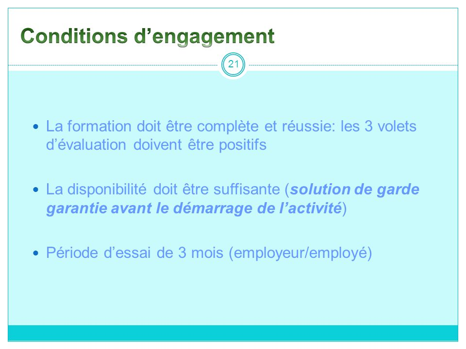 Conditions d'engagement
