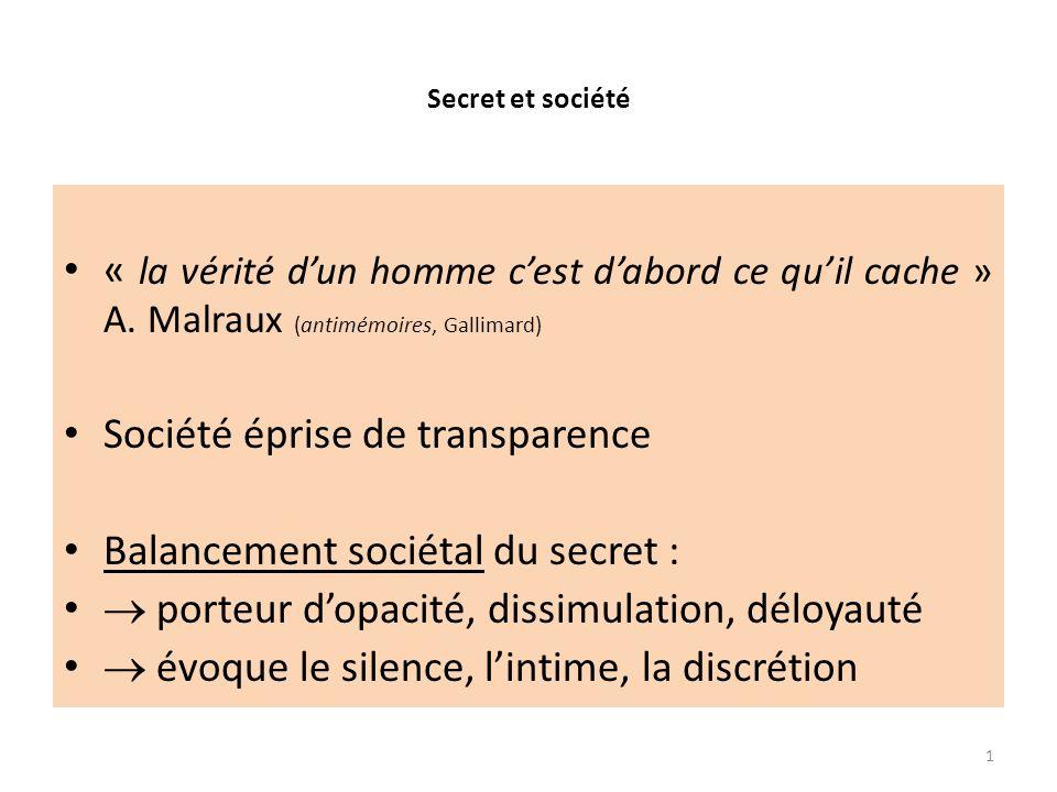 Société éprise de transparence Balancement sociétal du secret :