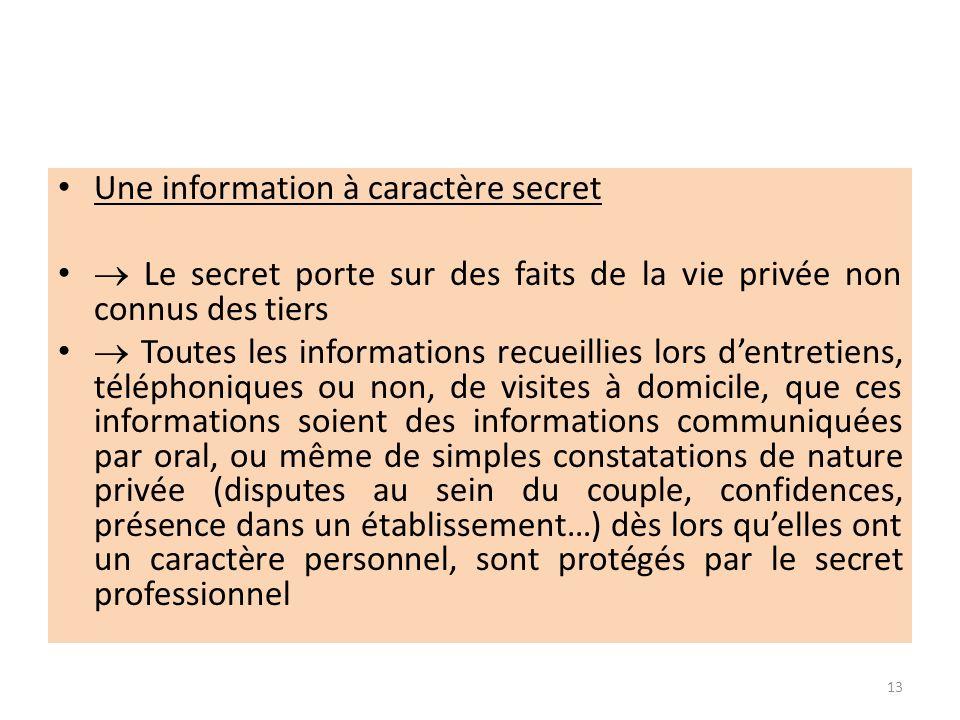 Une information à caractère secret