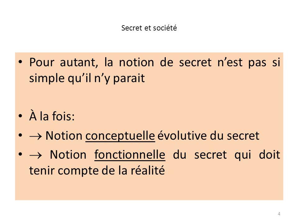 Pour autant, la notion de secret n'est pas si simple qu'il n'y parait