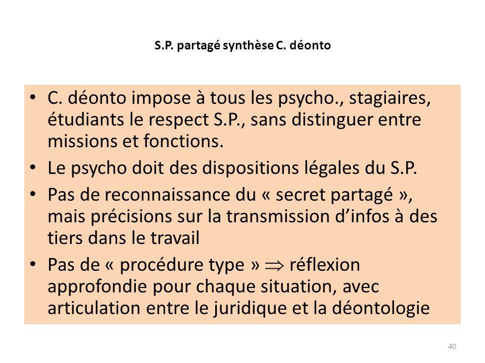 S.P. partagé synthèse C. déonto