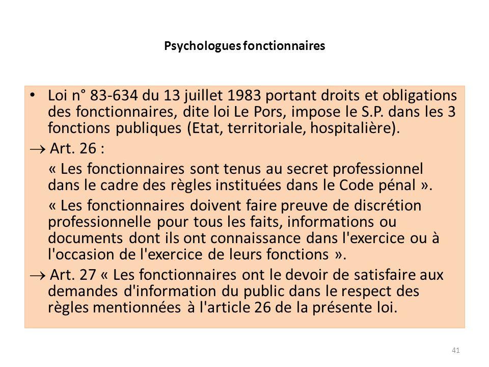 Psychologues fonctionnaires