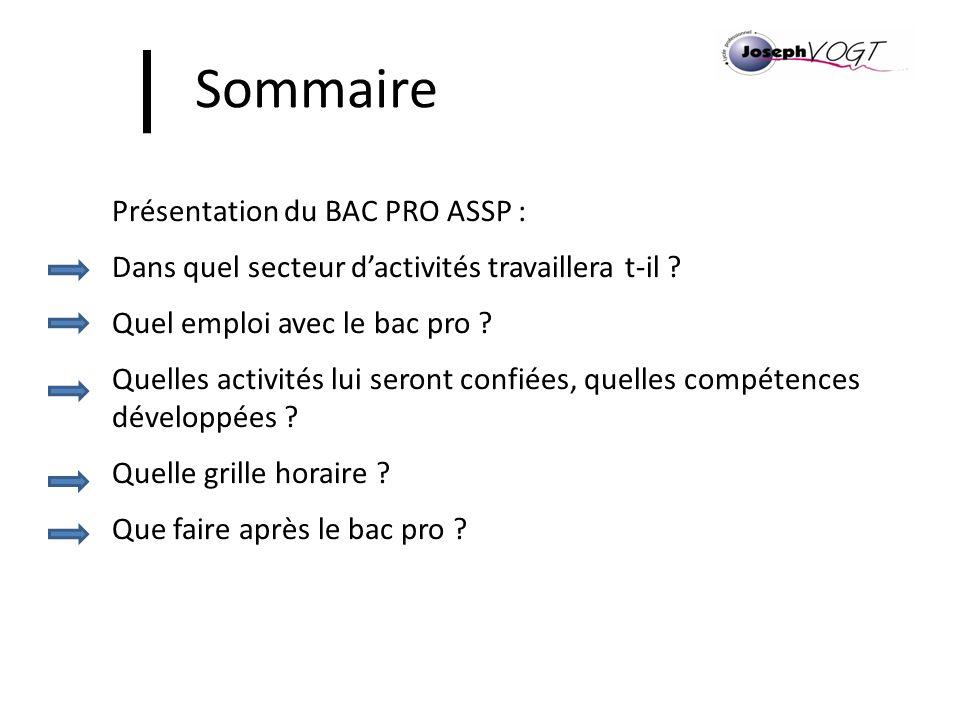 Sommaire Présentation du BAC PRO ASSP :