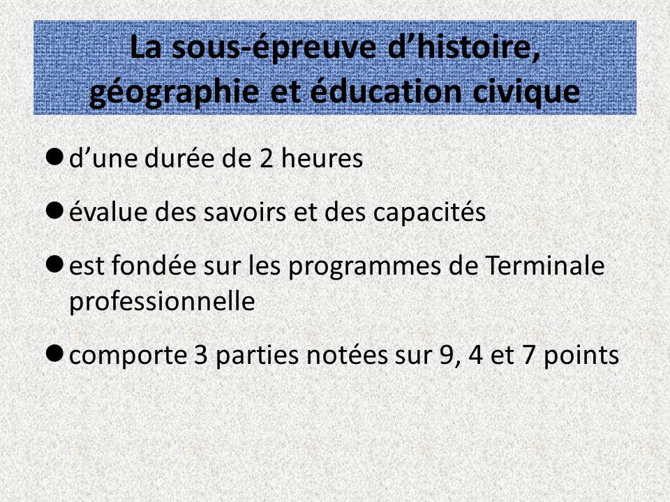 La sous-épreuve d'histoire, géographie et éducation civique