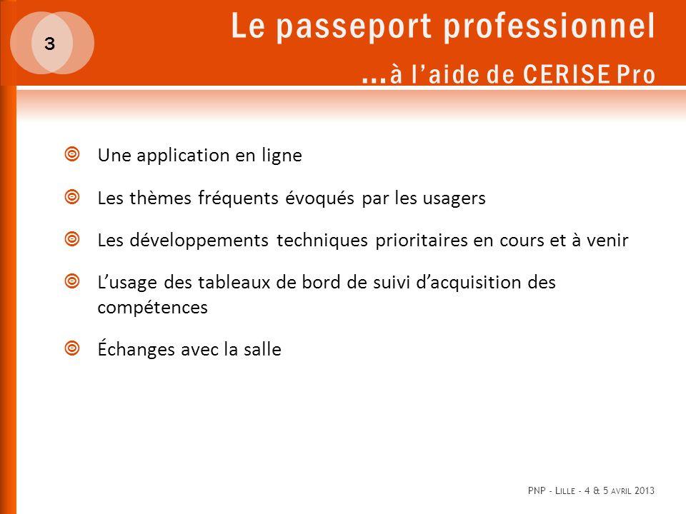 Le passeport professionnel …à l'aide de CERISE Pro