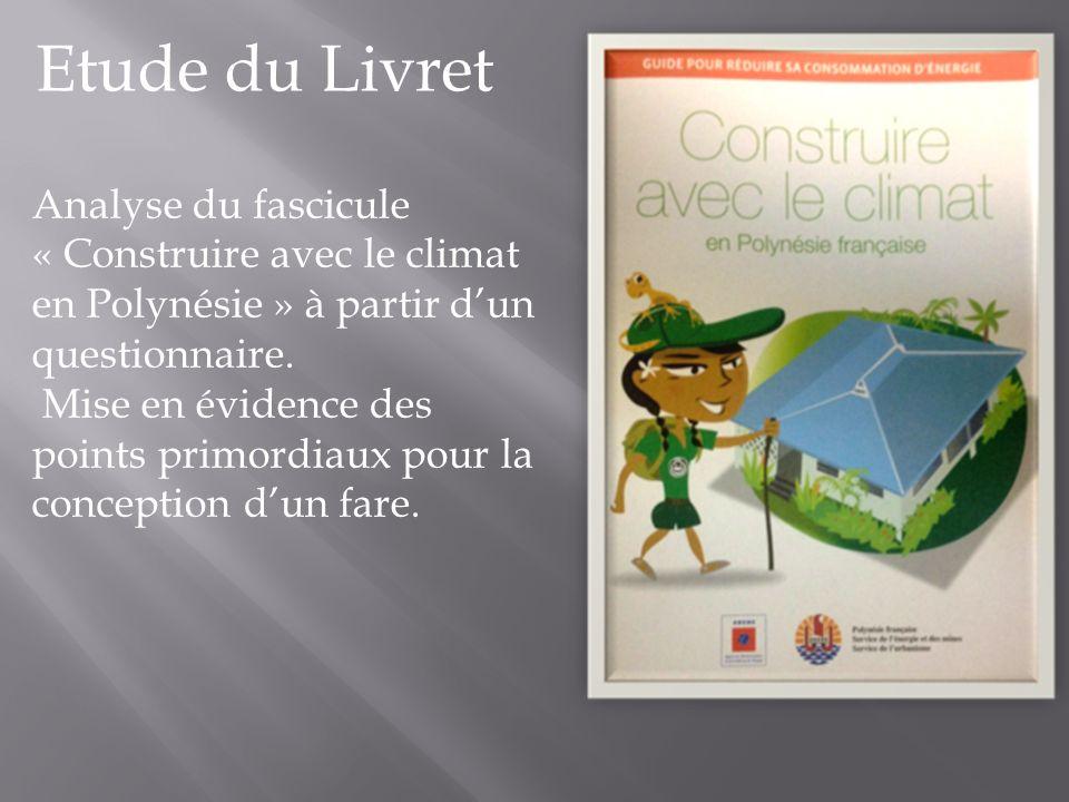 Etude du Livret Analyse du fascicule « Construire avec le climat en Polynésie » à partir d'un questionnaire.