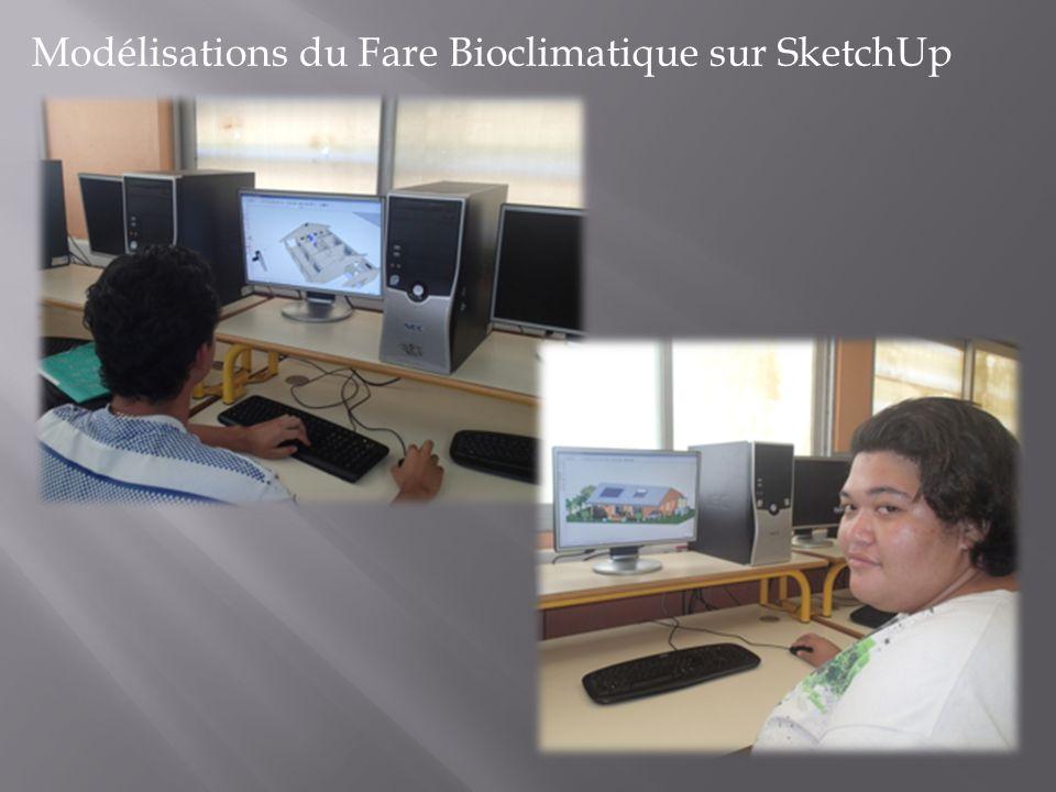 Modélisations du Fare Bioclimatique sur SketchUp