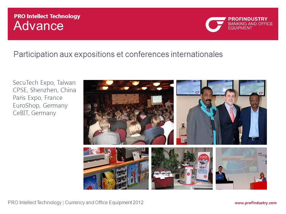 Advance Participation aux expositions et conferences internationales