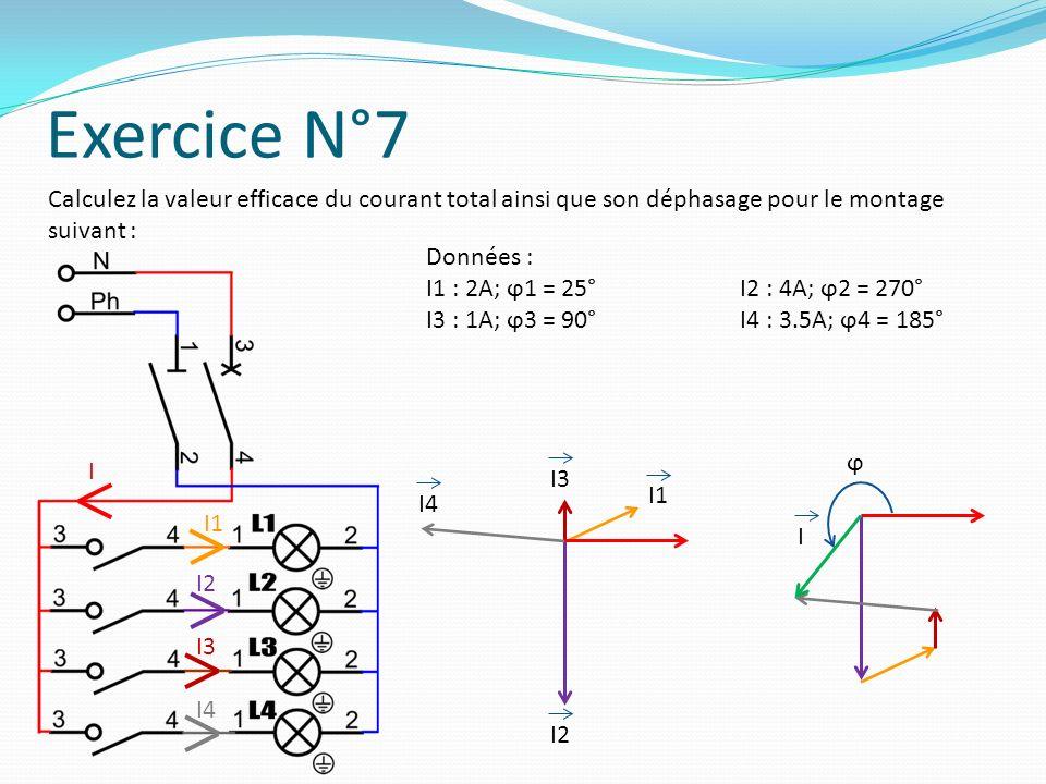 Exercice N°7 Calculez la valeur efficace du courant total ainsi que son déphasage pour le montage suivant :