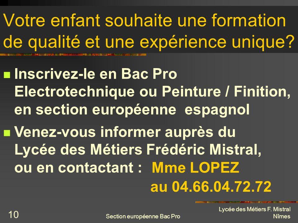 Section européenne Bac Pro