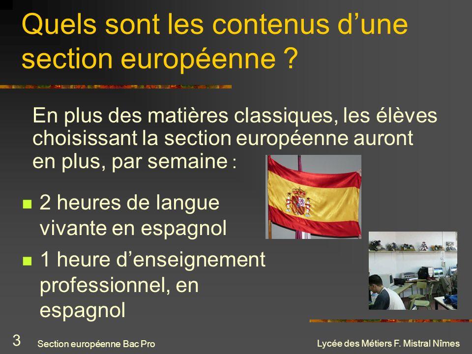 Quels sont les contenus d'une section européenne