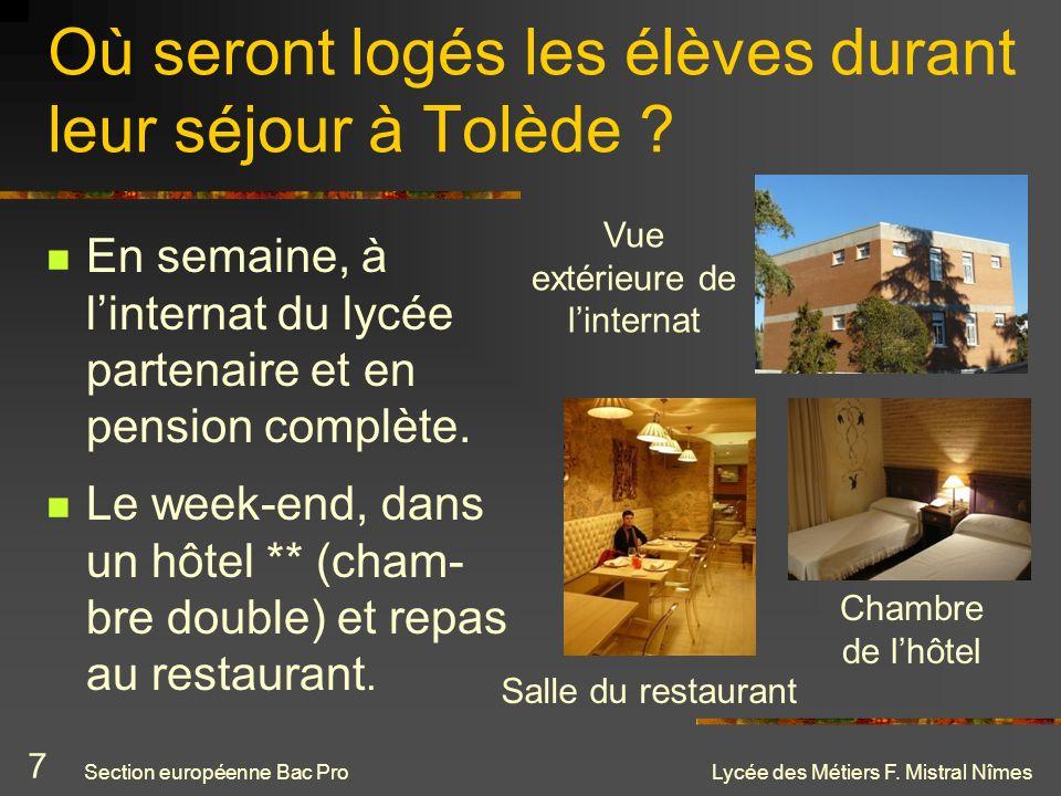 Où seront logés les élèves durant leur séjour à Tolède