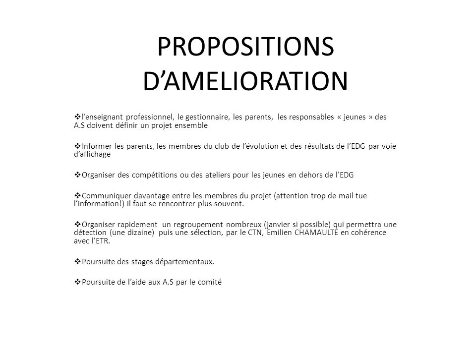 PROPOSITIONS D'AMELIORATION