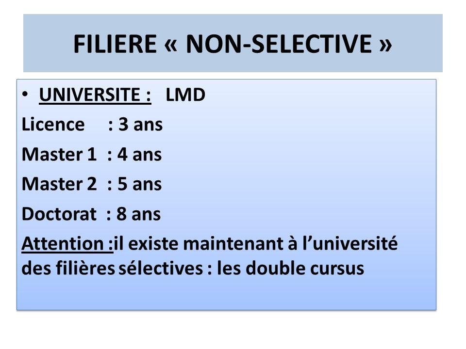 FILIERE « NON-SELECTIVE »