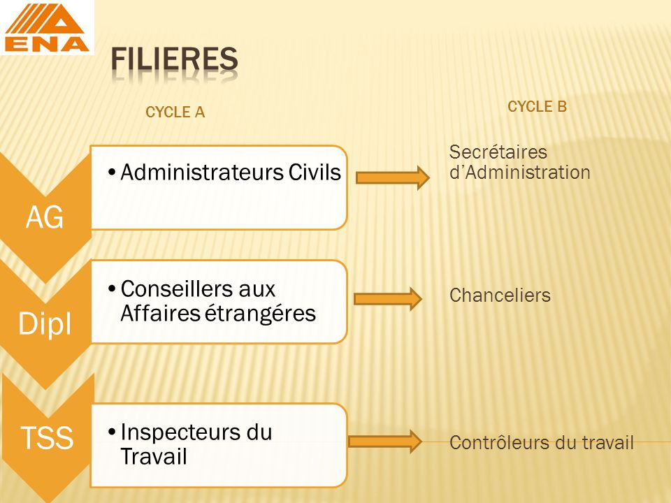 FILIERES CYCLE B. CYCLE A. Secrétaires d'Administration Chanceliers Contrôleurs du travail AG. Administrateurs Civils.