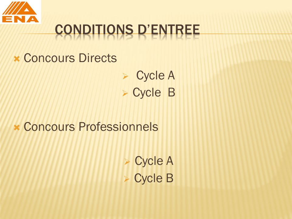 CONDITIONS D'ENTREE Concours Directs Cycle A Cycle B