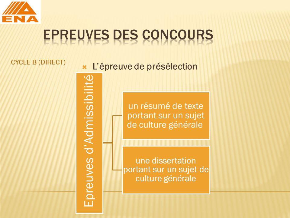 EPREUVES DES CONCOURS L'épreuve de présélection CYCLE B (DIRECT)