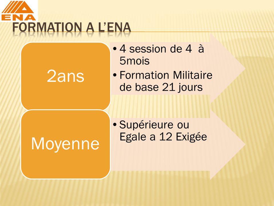 FORMATION A L'ENA 2ans 4 session de 4 à 5mois